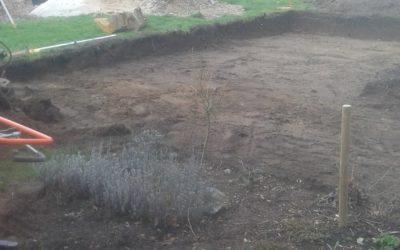 Udgravning til terrasse og drivhus